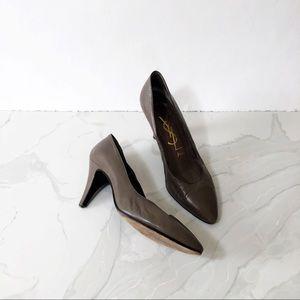 YSL Paris Grey Taupe Browb Pointed Toe 8.5 Heels